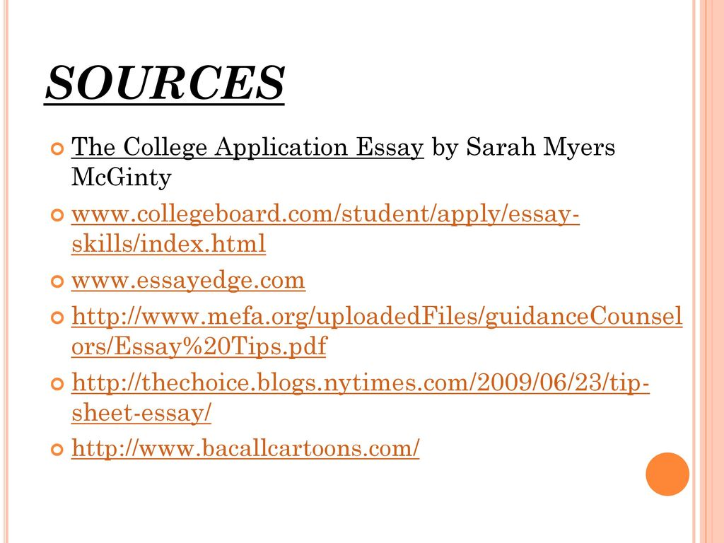 College Essay Sources
