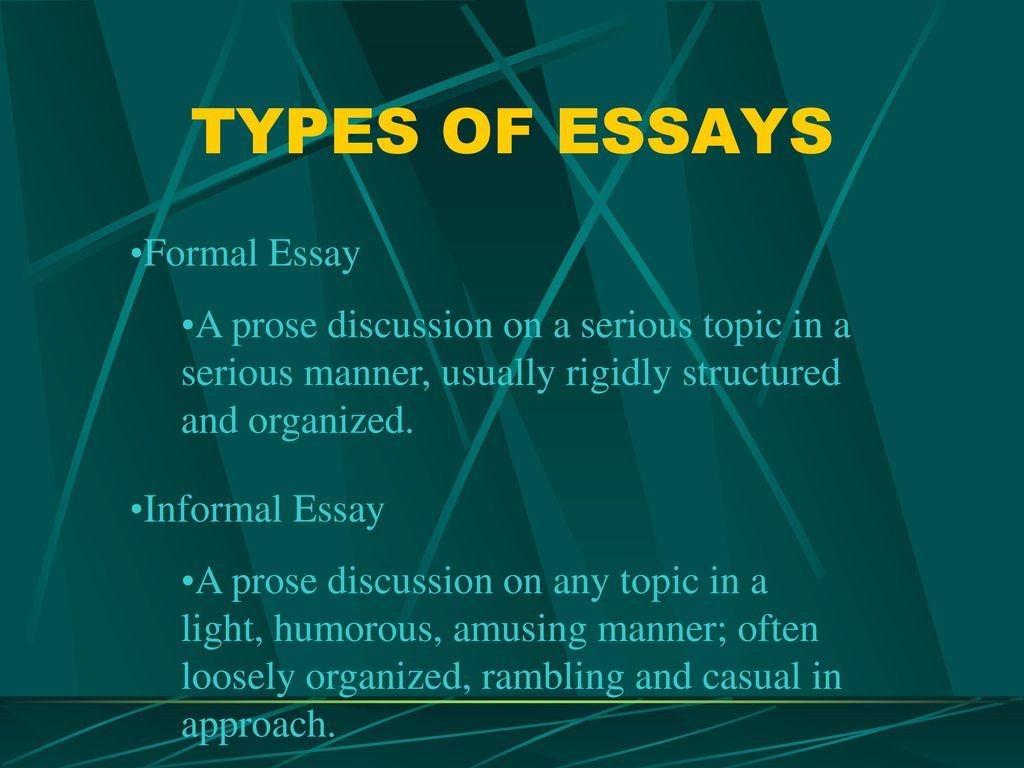 different types of academic essays The table below summarises the three different types of essays you will likely encounter in the ielts exam in order to understand each one more fully you should go to the page for each type of essay which are: opinion [argument] essay, both sides + opinion essay, two question essay opinion.