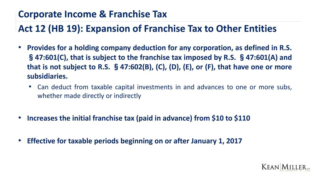 franchise fee corp tax A corp tax consequence no gain or loss for formation issue common stock, requisition purchase of treasury stock, resale sale of treasury stock basis of property from transfer or shareholder is greater of adjusted basis= net book + gain or debt assume by corp.