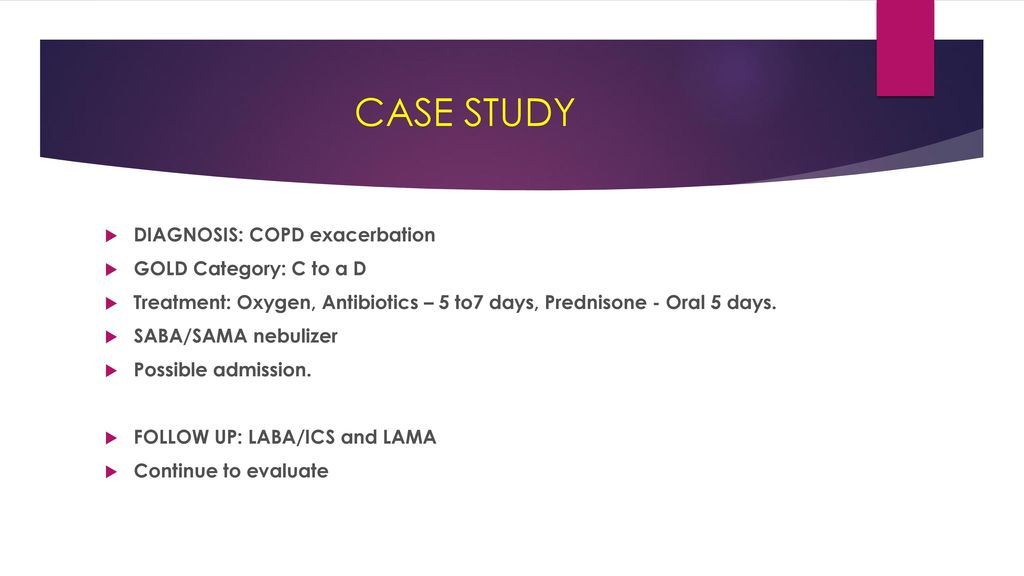 copd exacerbation case study Case study patient with copd  js has the following clinical factors that increase  his risk of a severe copd exacerbation: marked increase in.
