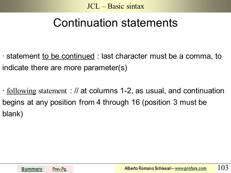 Continuation statements