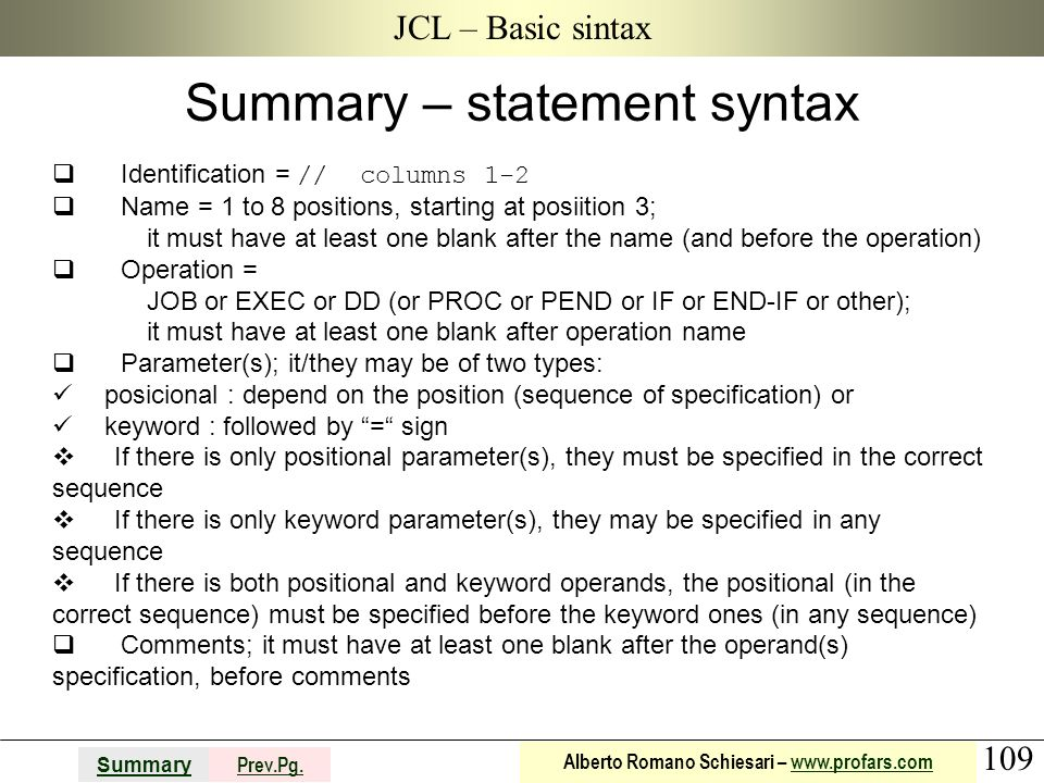Summary – statement syntax