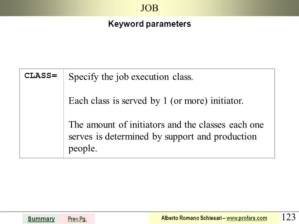 Specify the job execution class.