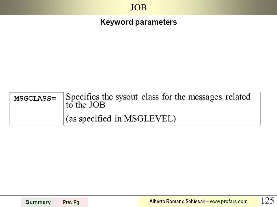 Specifies the sysout class for the messages related to the JOB