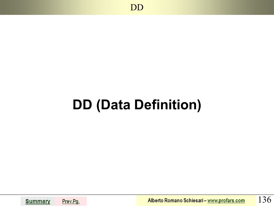 DD DD (Data Definition)