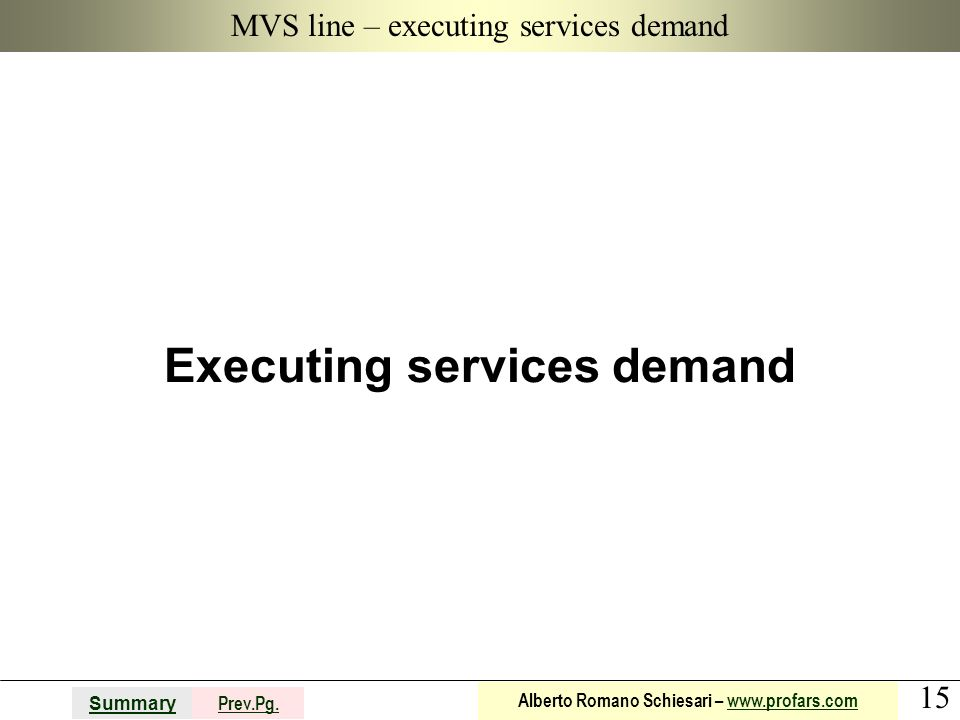 MVS line – executing services demand