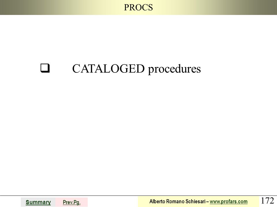 q CATALOGED procedures