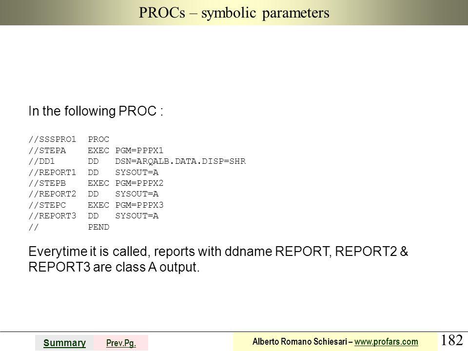 PROCs – symbolic parameters