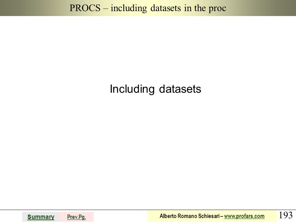 PROCS – including datasets in the proc