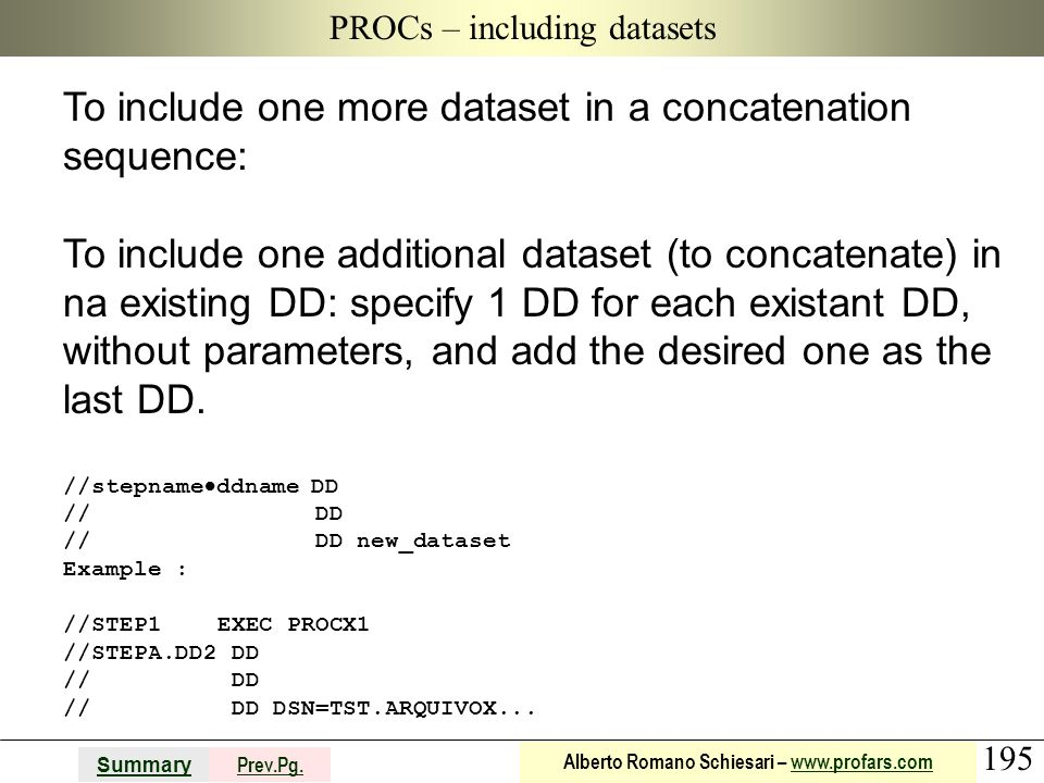 PROCs – including datasets