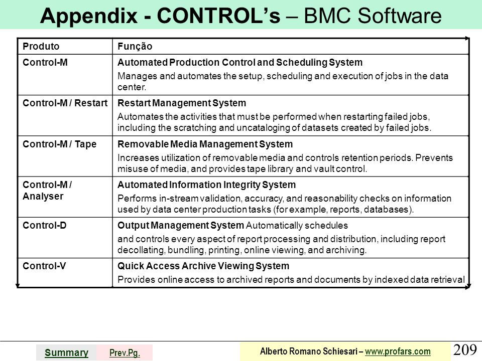 Appendix - CONTROL's – BMC Software