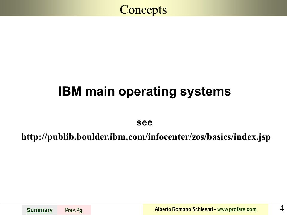 Concepts IBM main operating systems see http://publib.boulder.ibm.com/infocenter/zos/basics/index.jsp.