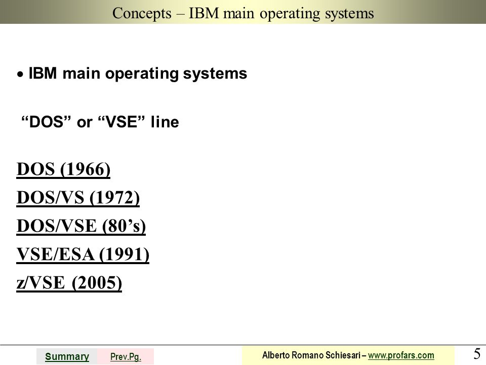 Concepts – IBM main operating systems