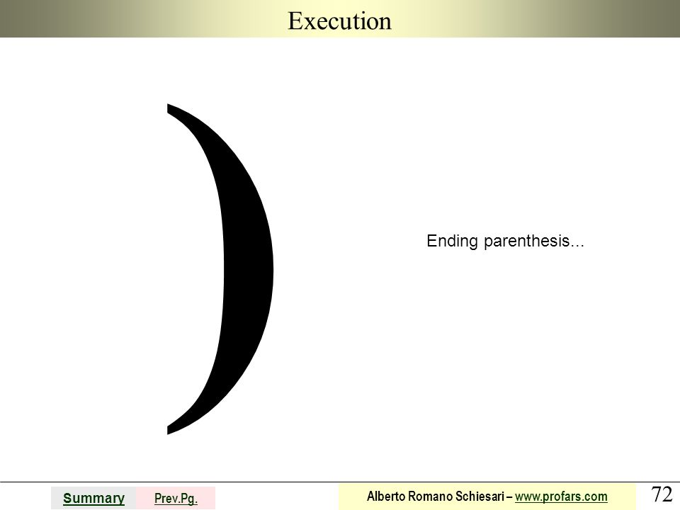 Execution ) Ending parenthesis...