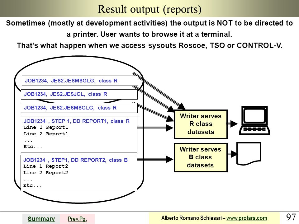 Result output (reports)