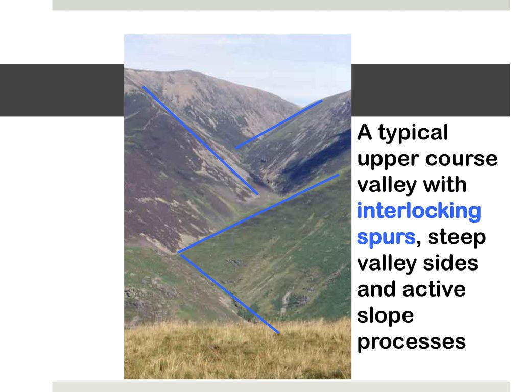 River studies 3 the 3 courses of a river ppt video online download 5 a typical upper course valley with interlocking spurs steep valley sides and active slope processes pooptronica Choice Image