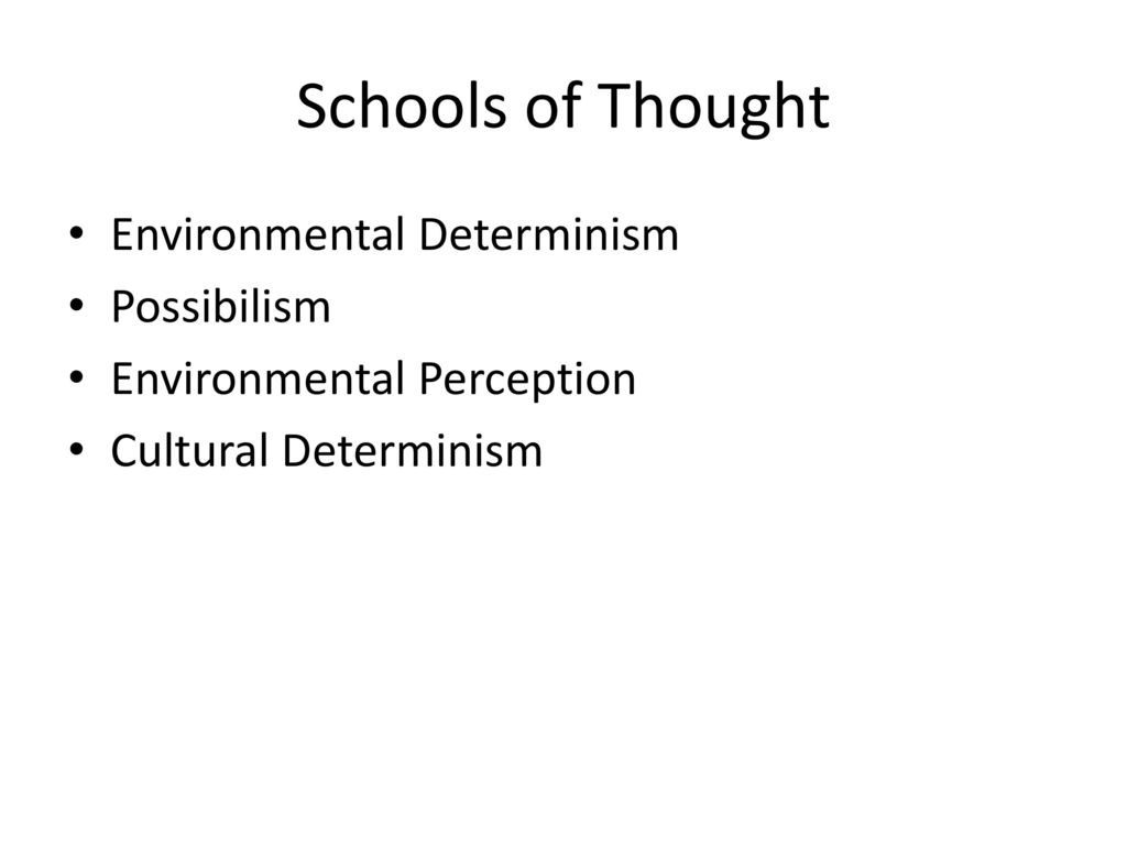 environmental schools of thought The environmental school of thought – this school deals with external factors that affect the lifestyle of a potential entrepreneur these could be positive or negative forces in the modeling of entrepreneurial desires.