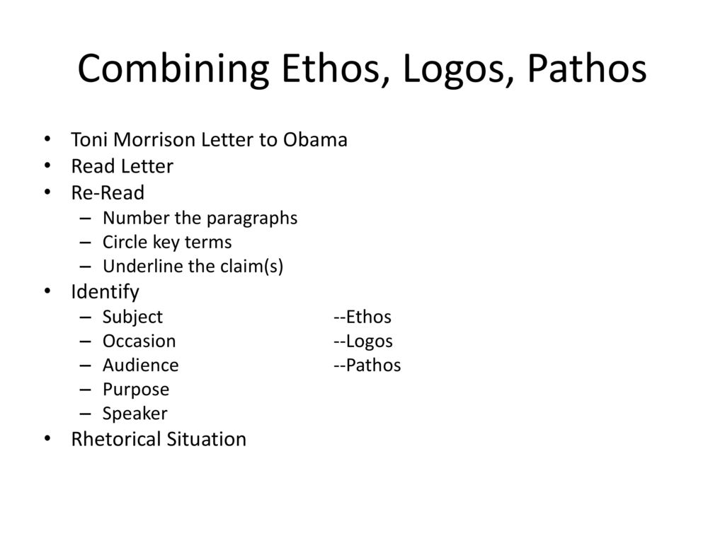 ethos logos pathos letter Clear examples and definition of ethos ethos was one of aristotle's three modes of persuasion, standing alongside logos (logical argument) and pathos (emotions) ethos is the trickiest of the three to define, but it roughly means credibility or character.