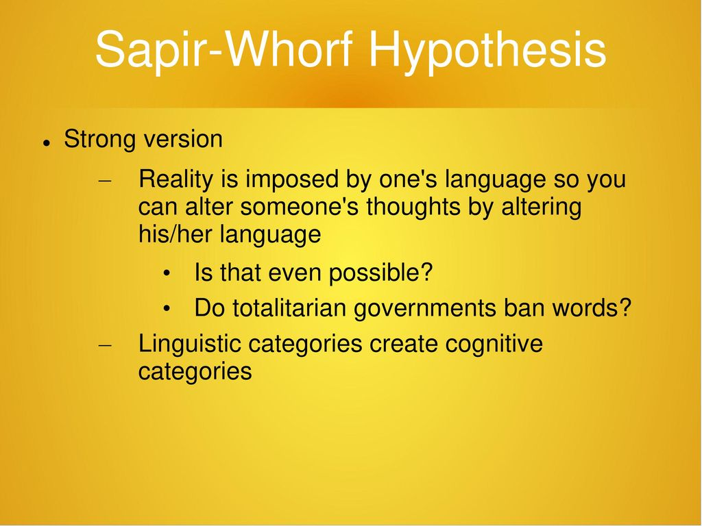 """sapir-whorf thesis For the sake of simplicity i am going to use the term """"sapir-whorf hypothesis"""" since it is the most prevailing and still used in academics furthermore, linguistic relativity will be used synonymously with the swh."""