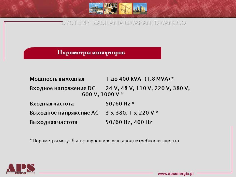 Параметры инверторов Мощность выходная 1 до 400 kVA (1,8 MVA) *