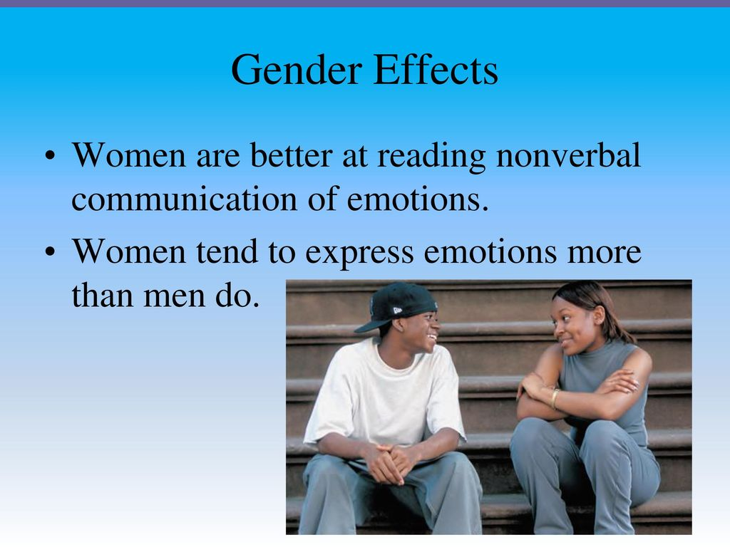 effects of communication type and gender Gender communication research continues to explore gender in these contexts, thus helping redefine how gender is understood and behaved we explored differences in gender communication styles by looking at language, the purpose of communication, patterns of talk, and nonverbal communication.