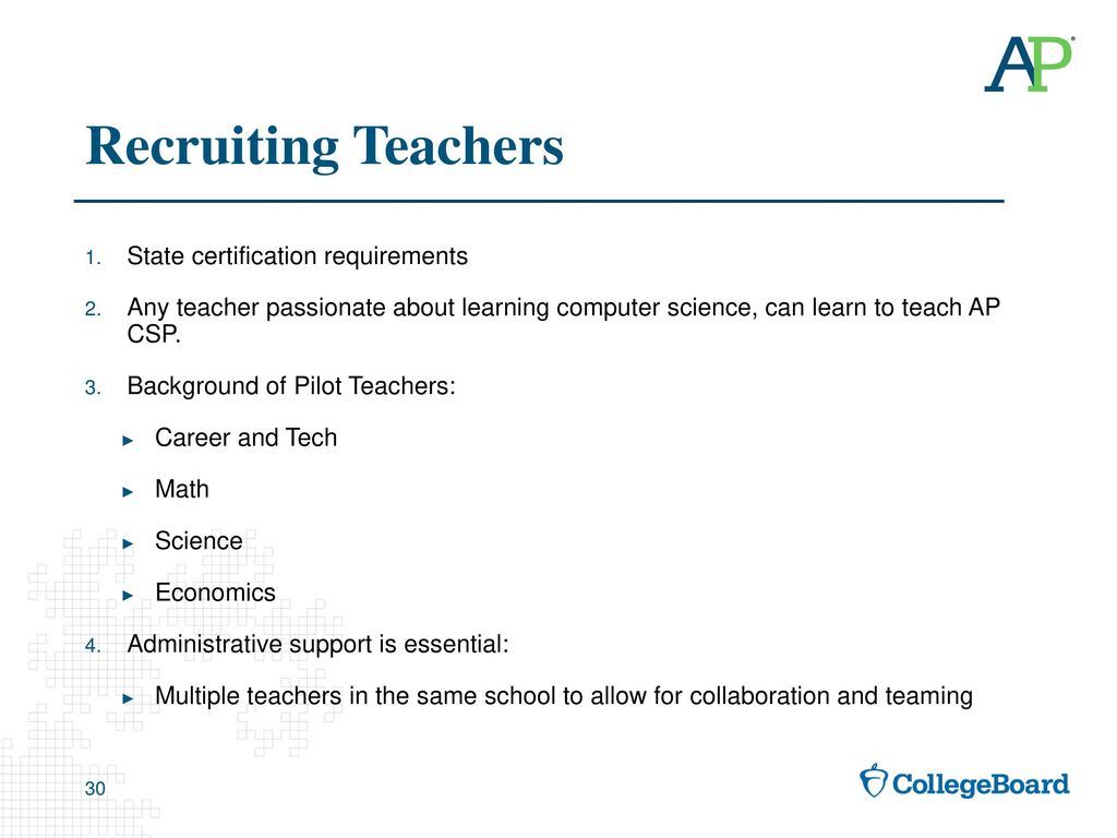 Introducing ap computer science principles ppt download recruiting teachers state certification requirements xflitez Gallery