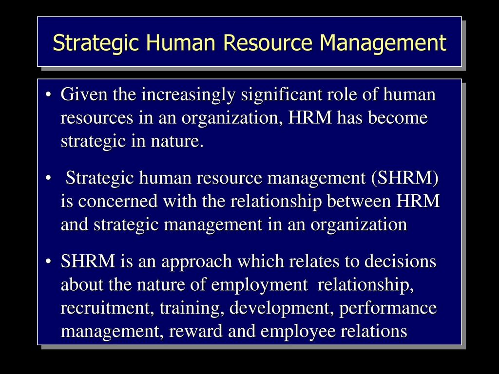 strategic human resources Strategic human resource management is the process of hiring, training, rewarding, and keeping employees for the benefit of both the organization and its employees it aims to utilize strengths and create opportunities for the human resources and keep it aligned with the objectives of the organization.