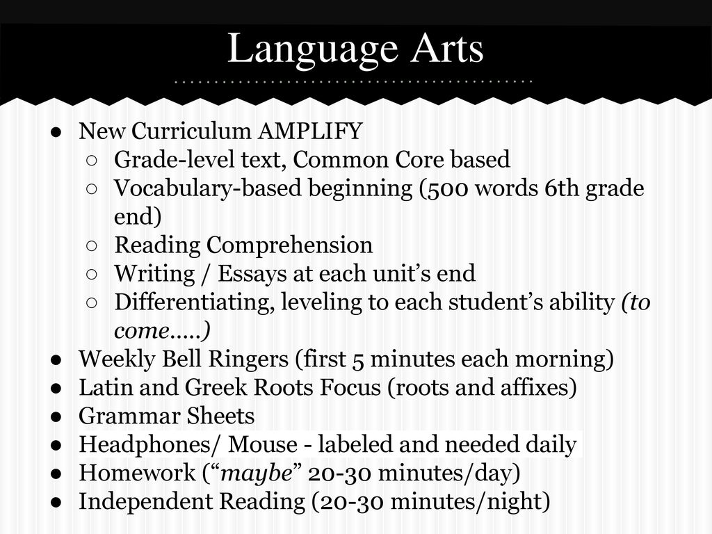 Welcome to sixth grade back to school night ppt video online download 13 language arts new curriculum amplify fandeluxe Choice Image