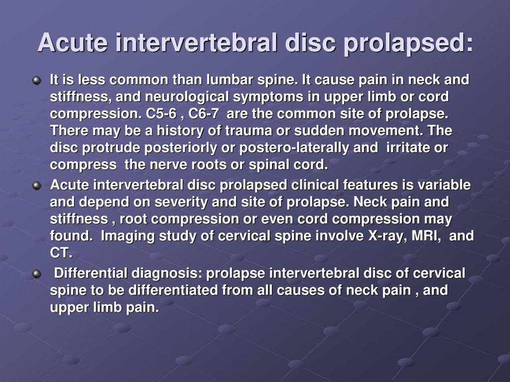 Intervertebral disc prolapse xray