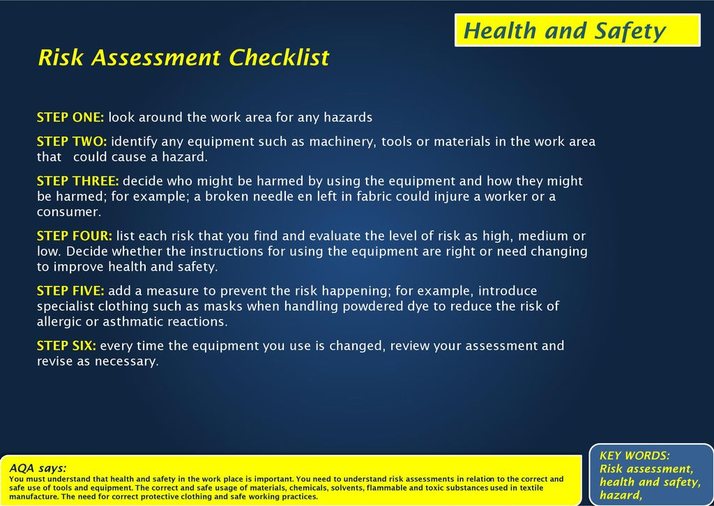 explain why it is important to assess health and safety risks Consistent approach to the processes of risk assessment, risk management and risk care standards and health and safety 51 a number of important issues.