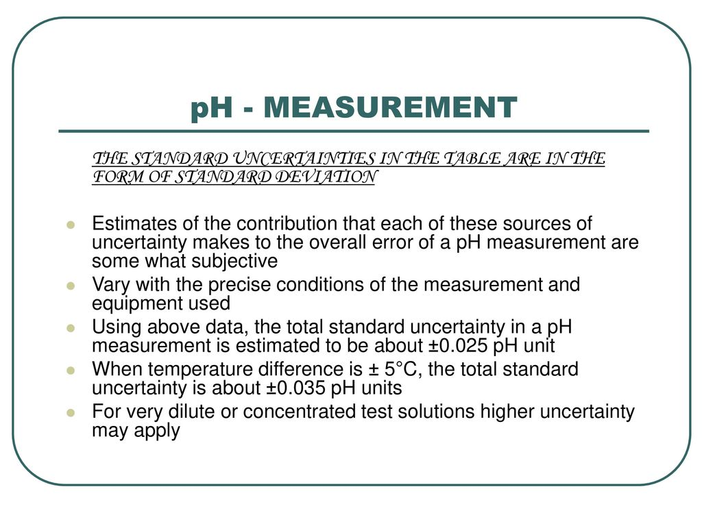 Ph measurement ph it is a convenient measure of acidity ph measurement the standard uncertainties in the table are in the form of standard deviation falaconquin