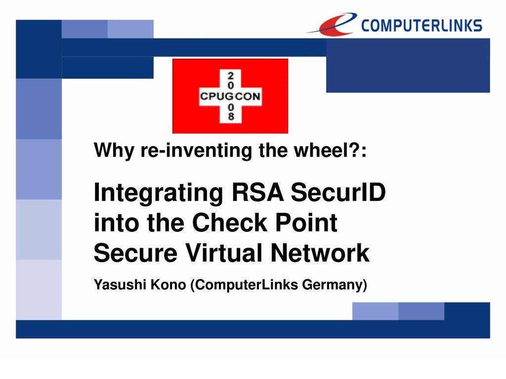 Integrating RSA SecurID into the Check Point Secure Virtual Network