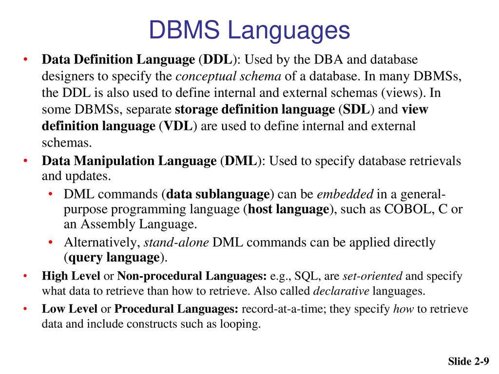 9 Dbms Languages Data Definition