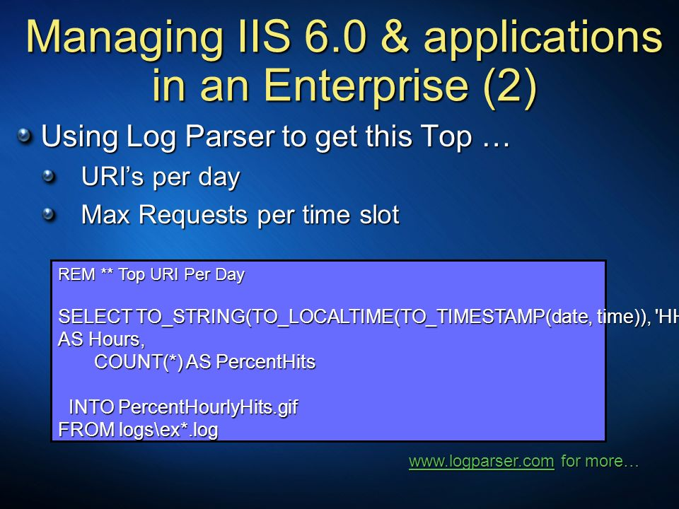 Managing IIS 6.0 & applications in an Enterprise (2)