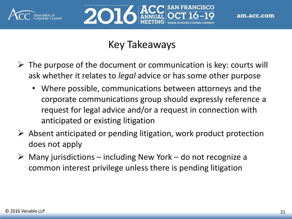 Association of Corporate Counsel CLE Presentation October ...