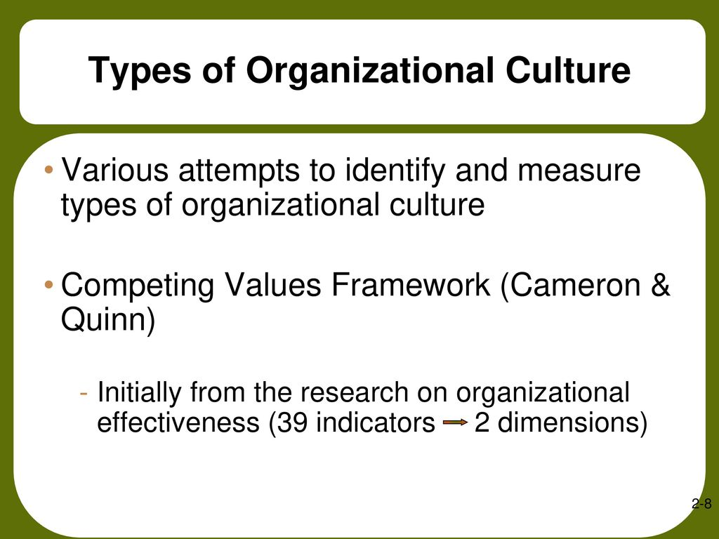 the effectiveness of organizational culture Organizational culture is built slowly over time, not with a quick decision or the writing of a big check this is especially critical for the leaders in our organizations the staff sees everything we do.