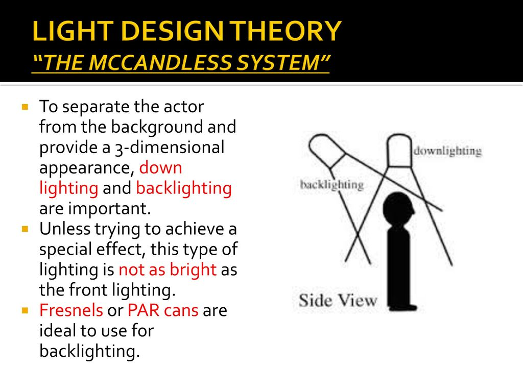 technical theatre light design ppt video online download rh slideplayer com Primer Stage Lighting McCandless Lighting Method