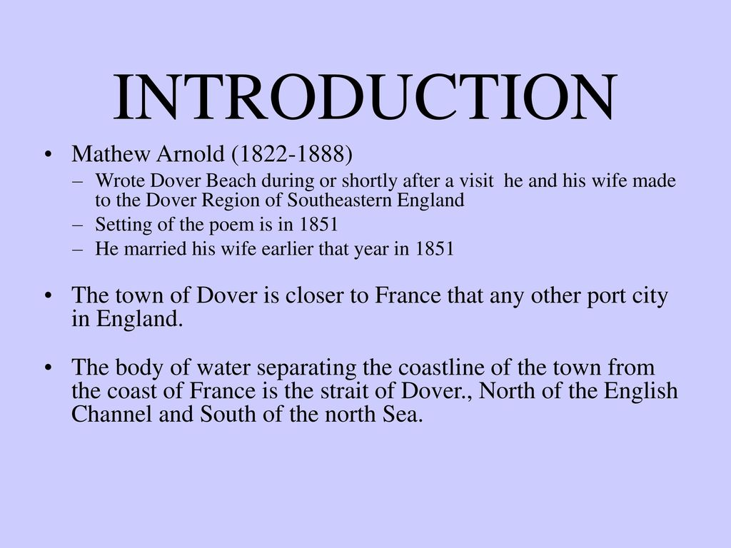 An analysis of the setting in my last duchess by robert browning and matthew arnolds dover beach