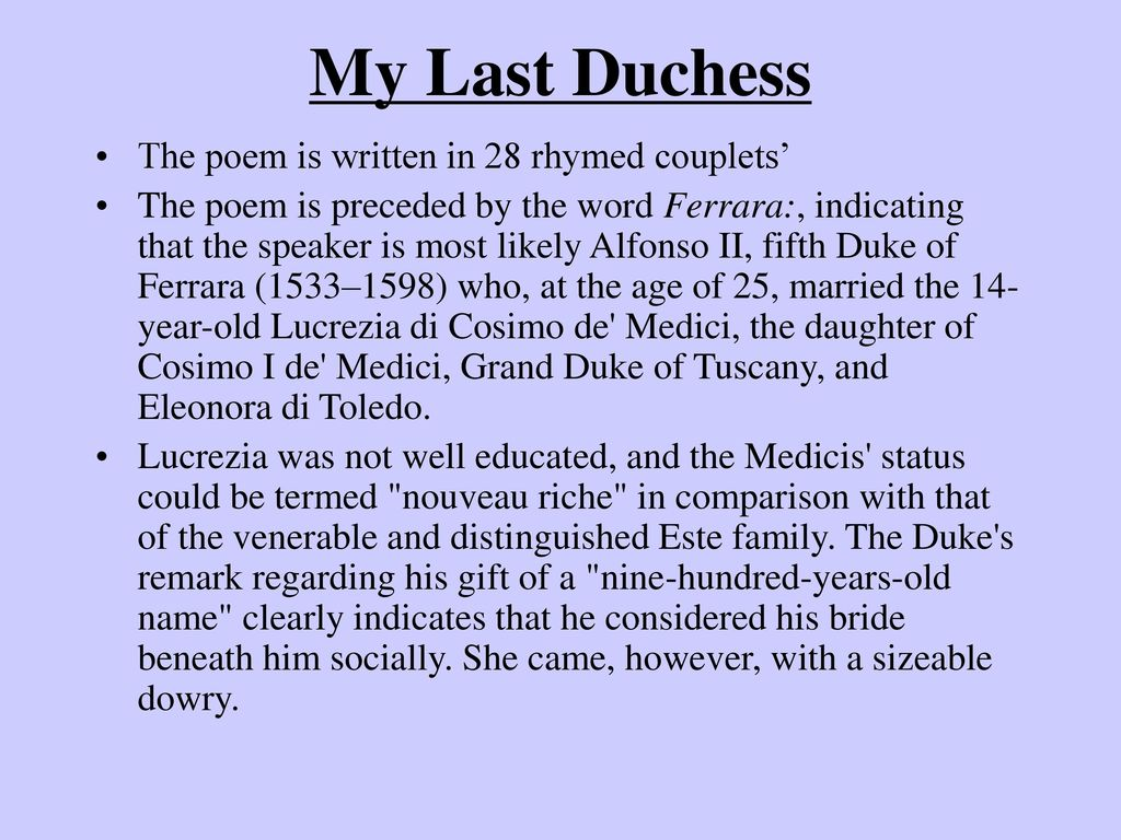 an analysis of dover beach and my last duchess Analysis of the setting in my last duchess and dover beach at first glance that the setting of a movie would be the psychological and physical environment in which the narrative occurs.