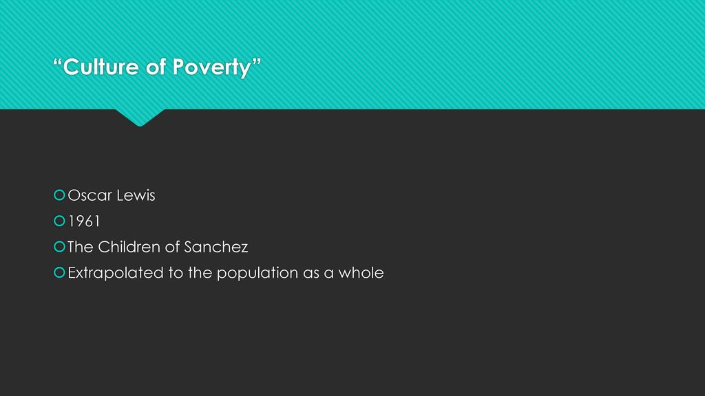 "what is poverty and how does our understanding affect our approach  13 ""culture of poverty"" oscar lewis"