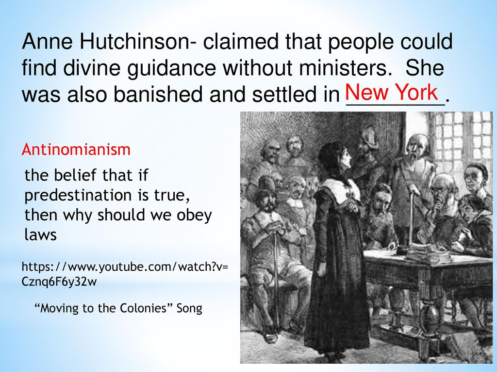 anne hutchinson essay Essay title: anne hutchinson biography the reason i picked this topic is because i admire anne hutchinson and the history of her.
