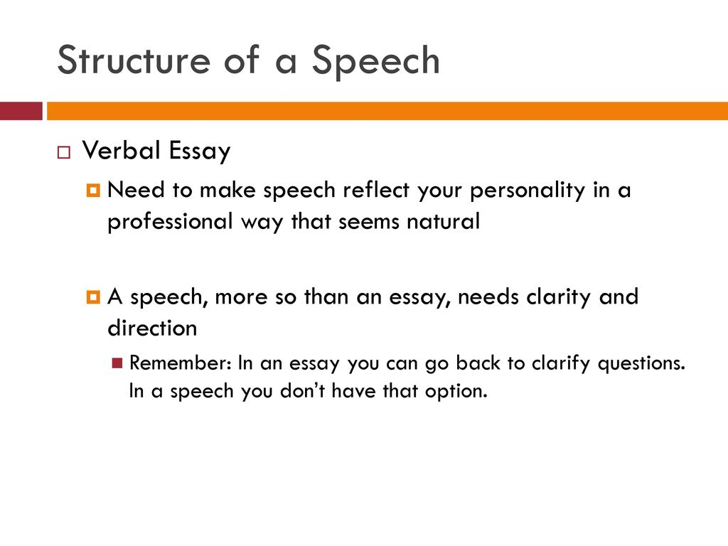 speech structures essay The purpose of a persuasive speech is to convince your audience to agree with an idea or opinion that you put forth first, you'll need to select a side on a.