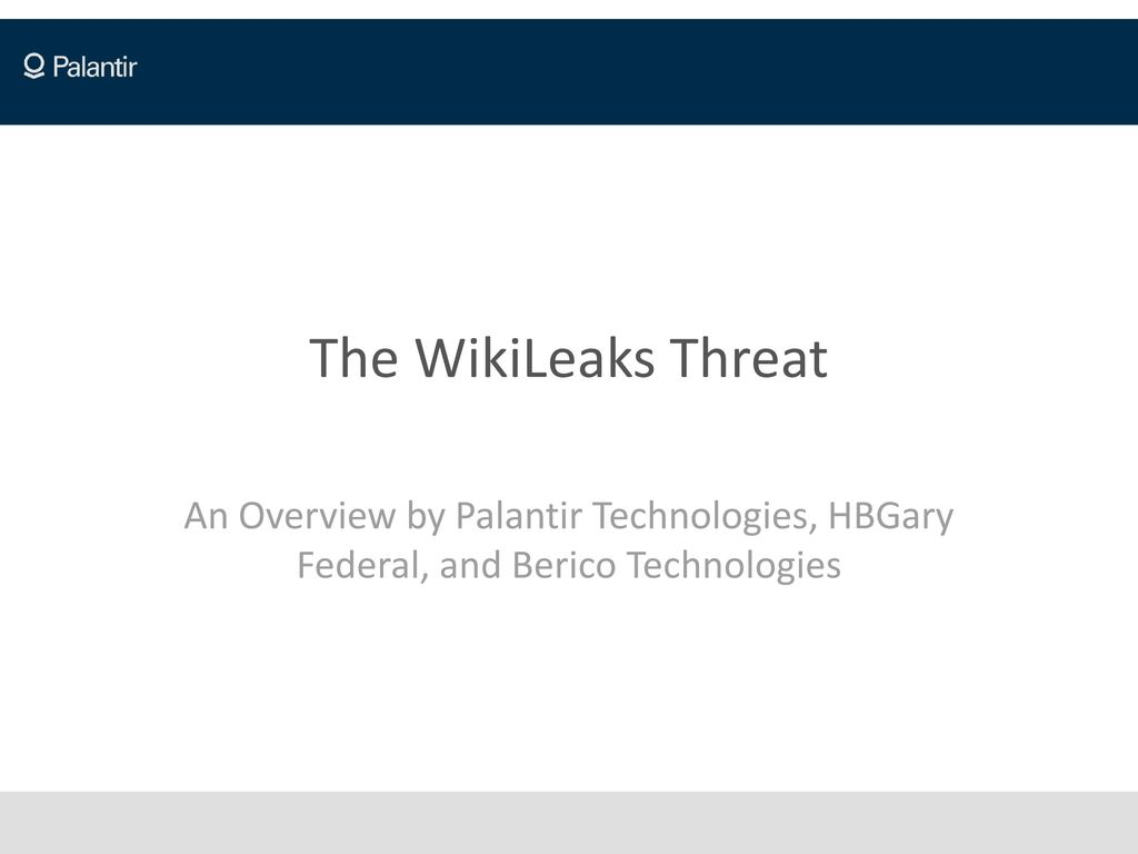 The WikiLeaks Threat An Overview by Palantir Technologies, HBGary Federal,  and Berico Technologies