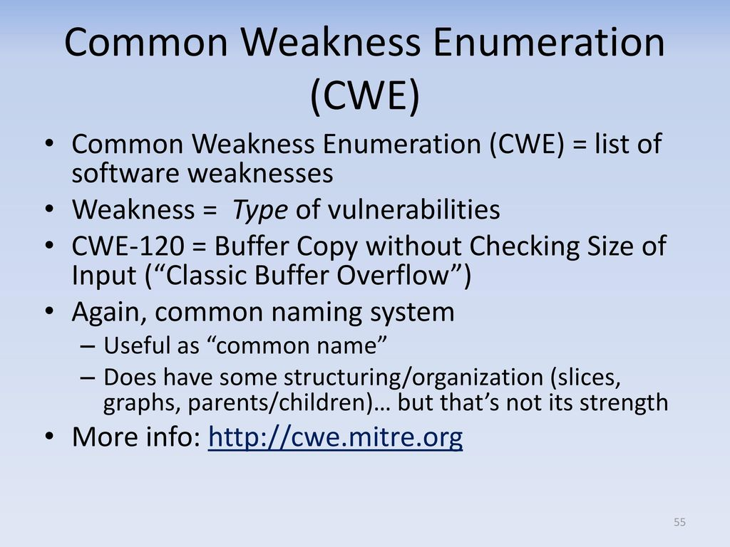 list of common weaknesses