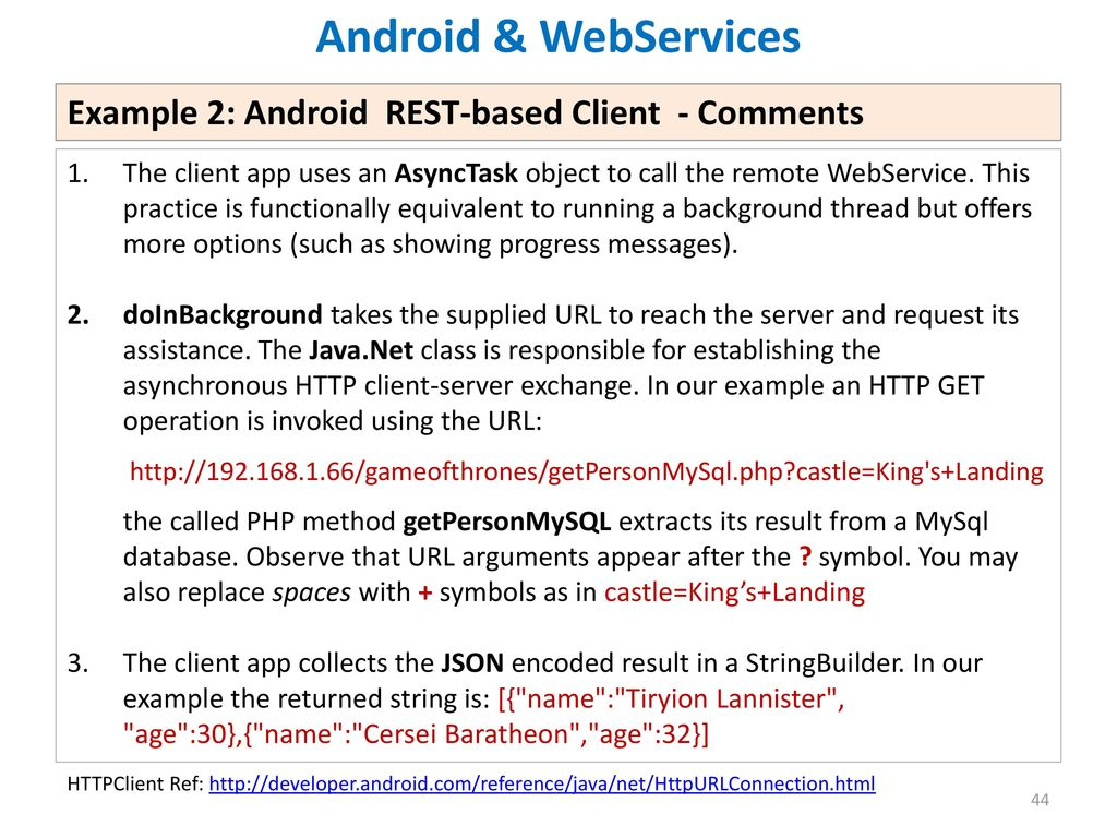 how to get json data from webservice in android