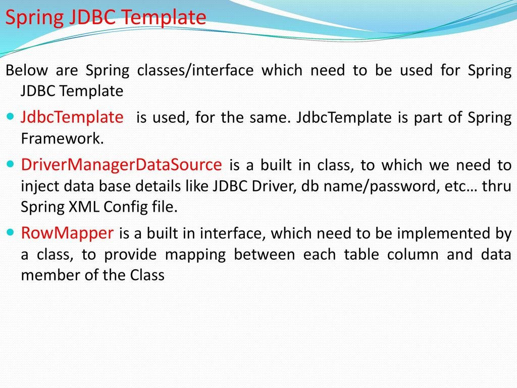 jdbc template in spring - spring framework ppt download