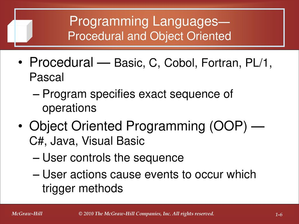 Introduction to programming and visual c ppt download 6 programming languages procedural and object oriented procedural basic baditri Image collections