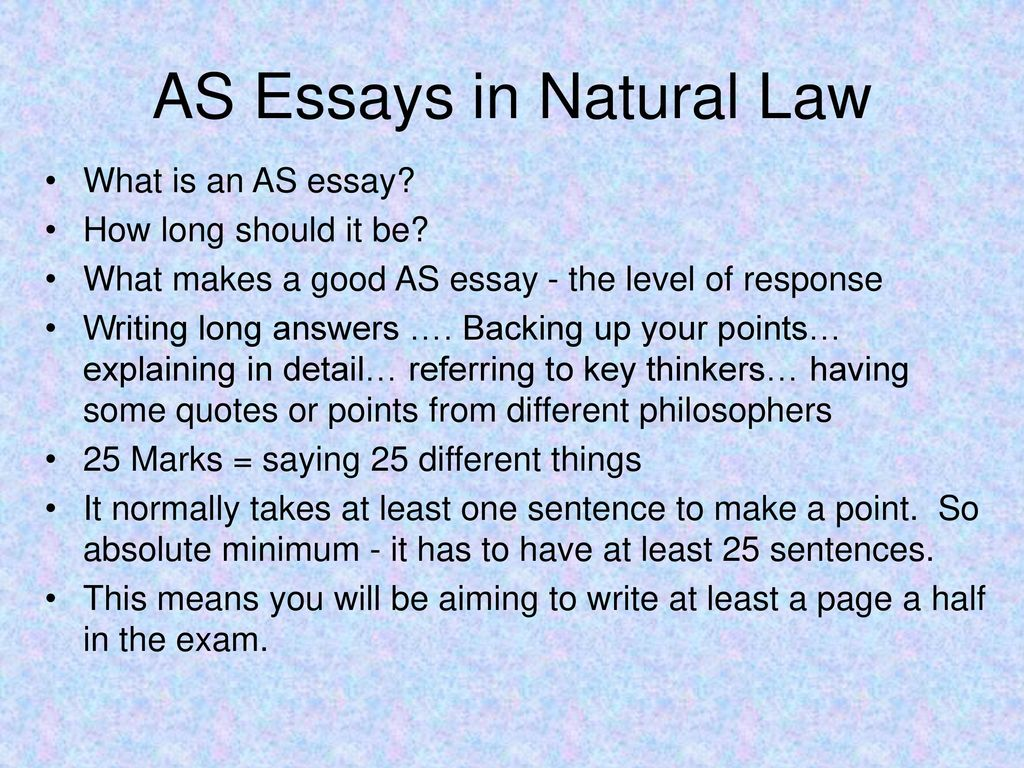 natural law essay Find essays and research papers on natural law at studymodecom we've helped millions of students since 1999 join the world's largest study community.
