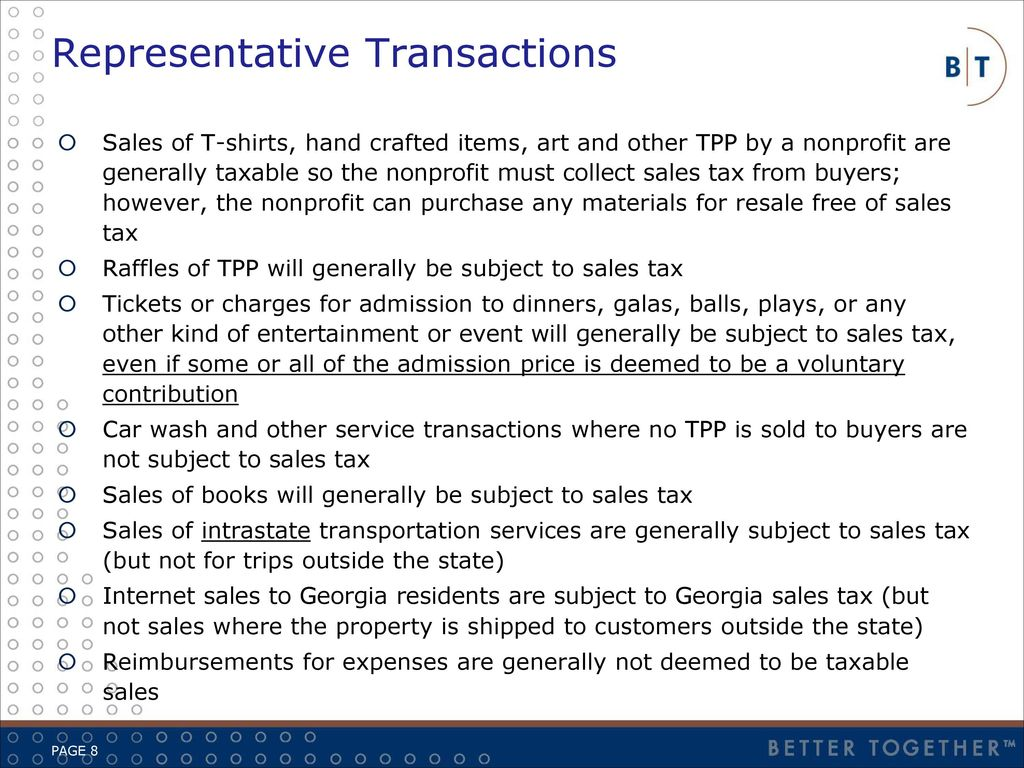 Overview application of salesuse taxes to nonprofits ppt download 8 representative transactions 1betcityfo Images