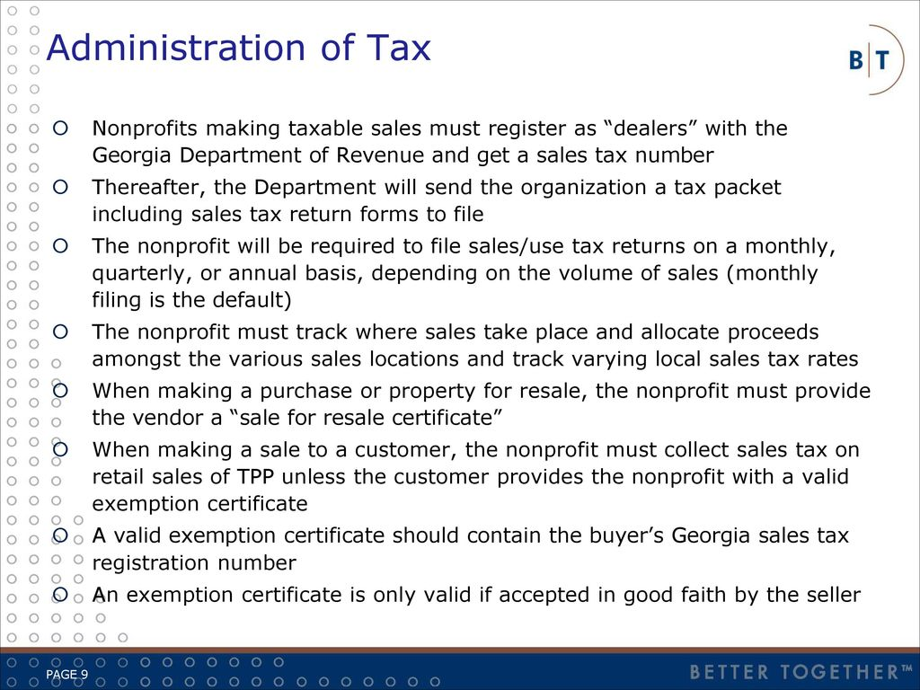 Overview application of salesuse taxes to nonprofits ppt download administration of tax nonprofits making taxable sales must register as dealers with the georgia department of 1betcityfo Images